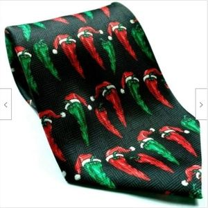 Red Green Hot Chili Pepper Wearing Santa Hat Tie